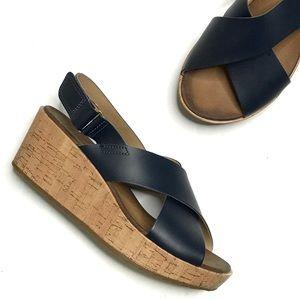 Clarks Stasha Hale Navy Criss Cross Wedge Sandals